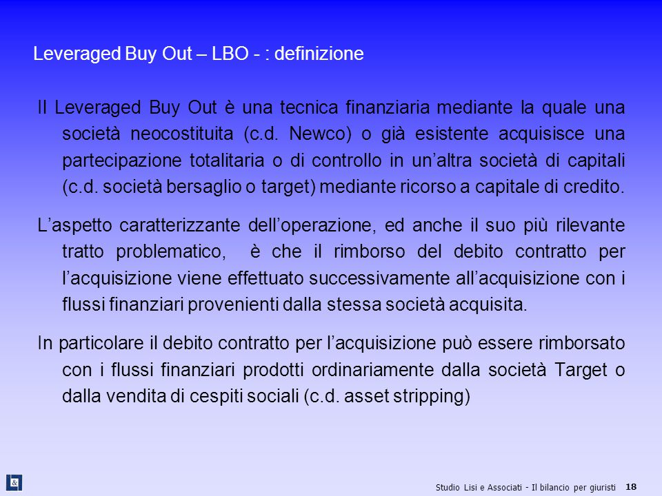 Leveraged Buy Out – LBO - : definizione