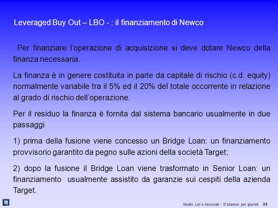 Leveraged Buy Out – LBO - : il finanziamento di Newco