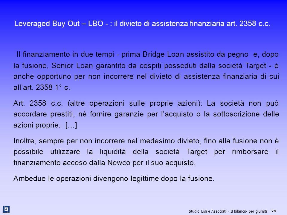 Leveraged Buy Out – LBO - : il divieto di assistenza finanziaria art