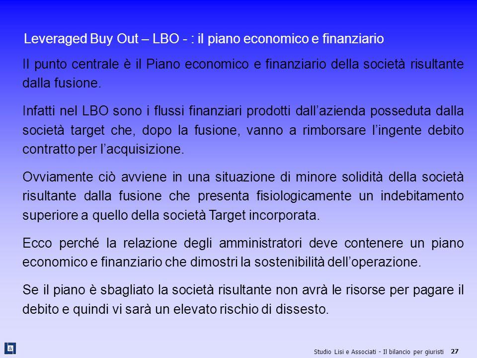 Leveraged Buy Out – LBO - : il piano economico e finanziario