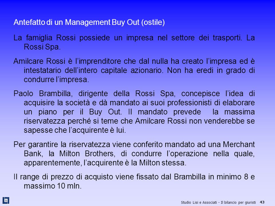 Antefatto di un Management Buy Out (ostile)