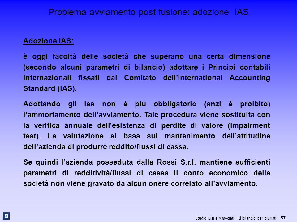 Problema avviamento post fusione: adozione IAS