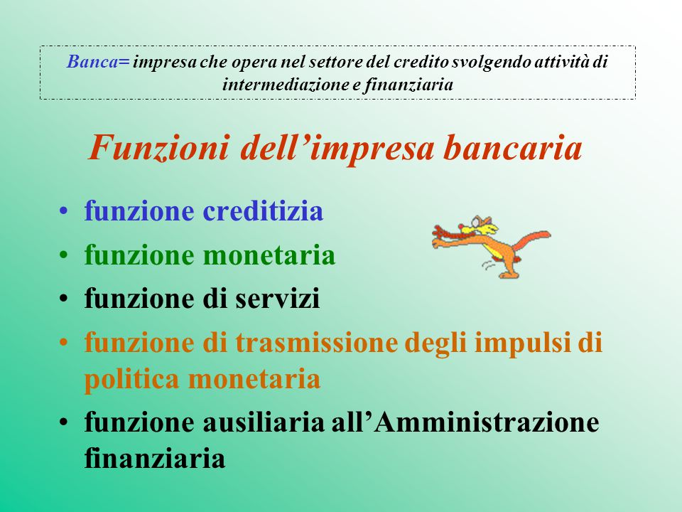 Funzioni dell'impresa bancaria