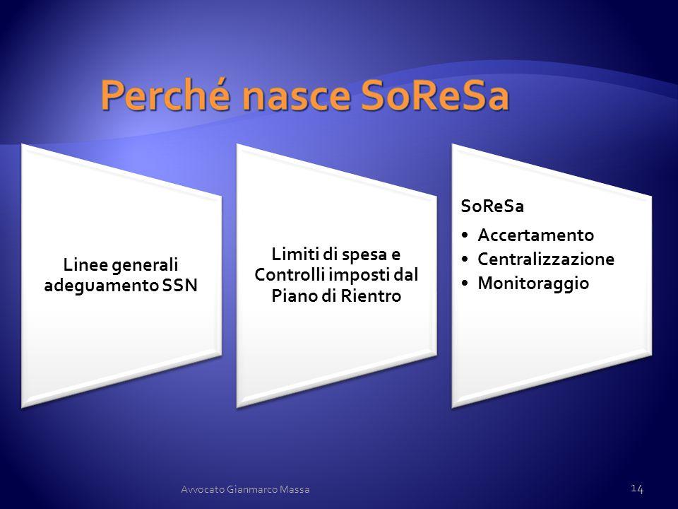 Perché nasce SoReSa Linee generali adeguamento SSN