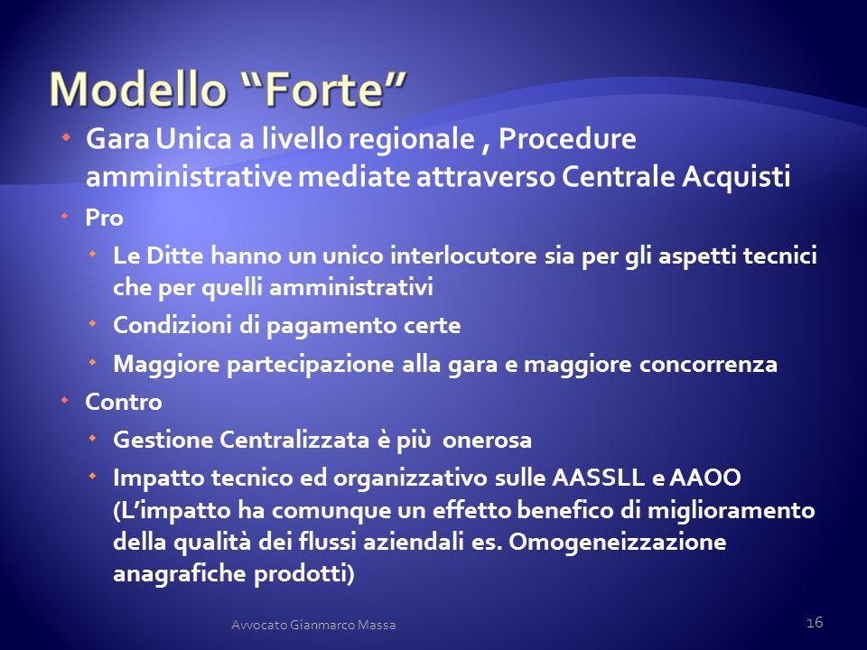 Modello Forte Gara Unica a livello regionale , Procedure amministrative mediate attraverso Centrale Acquisti.