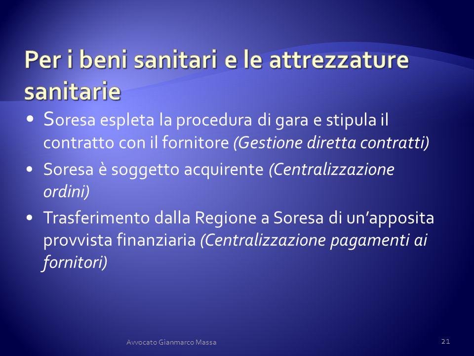 Per i beni sanitari e le attrezzature sanitarie