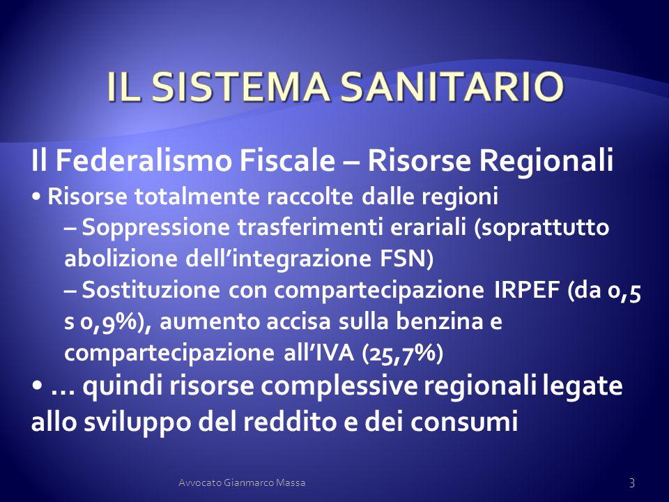 IL SISTEMA SANITARIO Il Federalismo Fiscale – Risorse Regionali