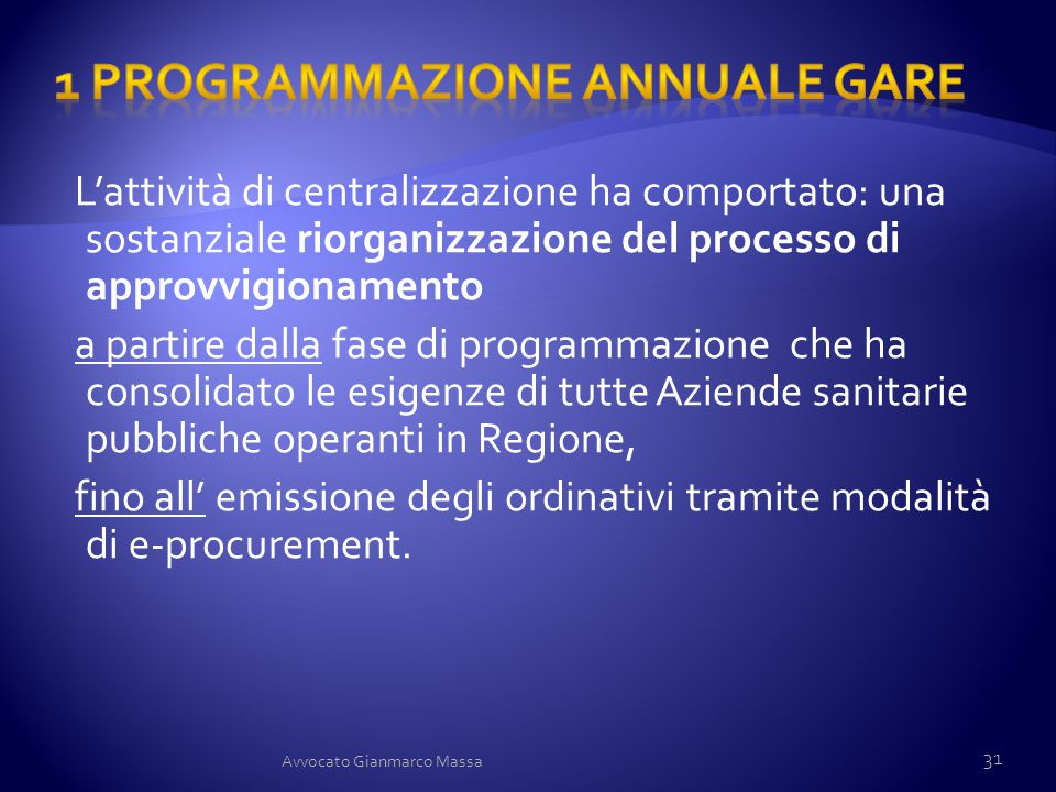 1 Programmazione annuale gare