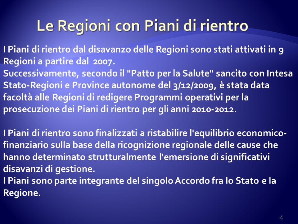 Le Regioni con Piani di rientro
