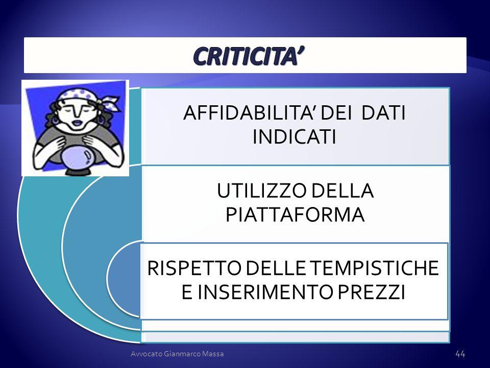CRITICITA' Avvocato Gianmarco Massa AFFIDABILITA' DEI DATI INDICATI