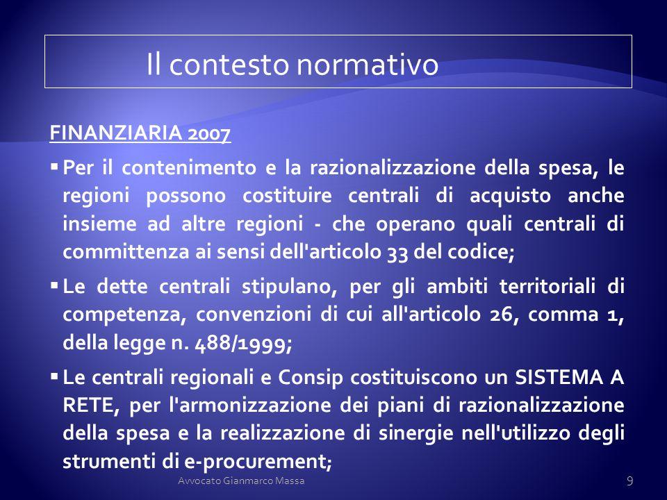 Il contesto normativo FINANZIARIA 2007