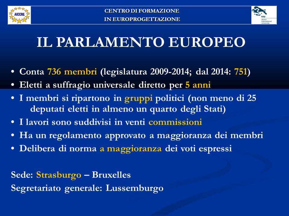 CENTRO DI FORMAZIONE IN EUROPROGETTAZIONE. IL PARLAMENTO EUROPEO. • Conta 736 membri (legislatura 2009-2014; dal 2014: 751)