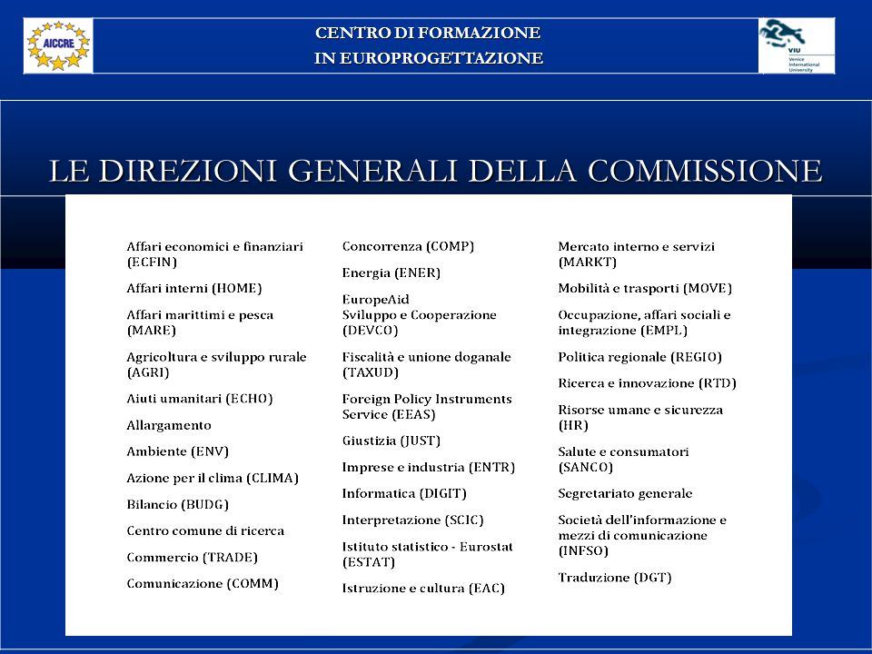 LE DIREZIONI GENERALI DELLA COMMISSIONE