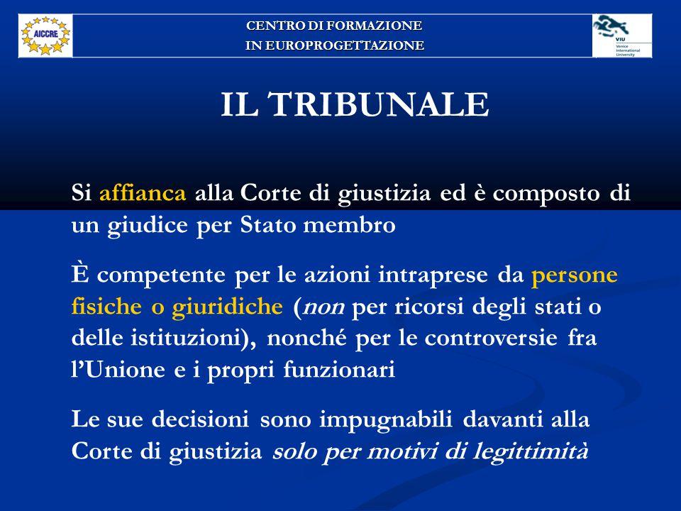 CENTRO DI FORMAZIONE IN EUROPROGETTAZIONE. IL TRIBUNALE. Si affianca alla Corte di giustizia ed è composto di un giudice per Stato membro.