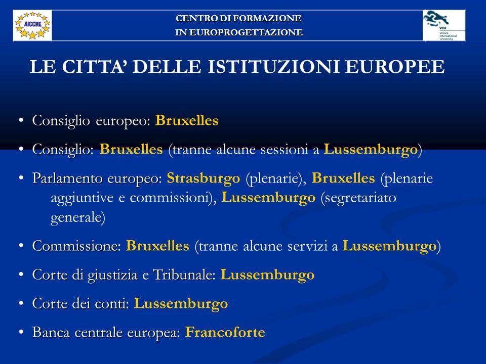 LE CITTA' DELLE ISTITUZIONI EUROPEE
