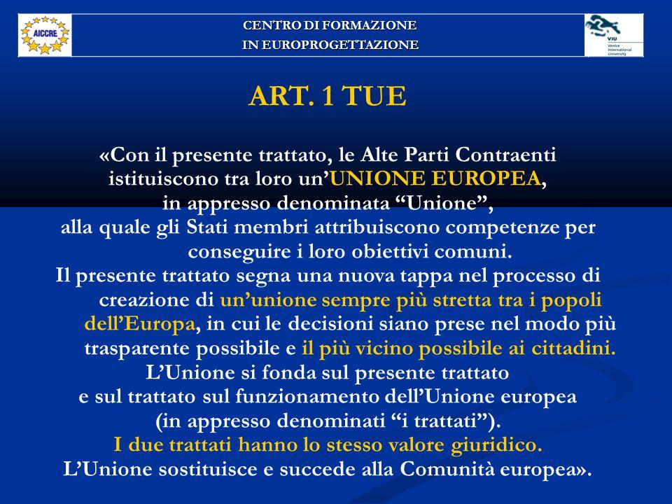 ART. 1 TUE «Con il presente trattato, le Alte Parti Contraenti
