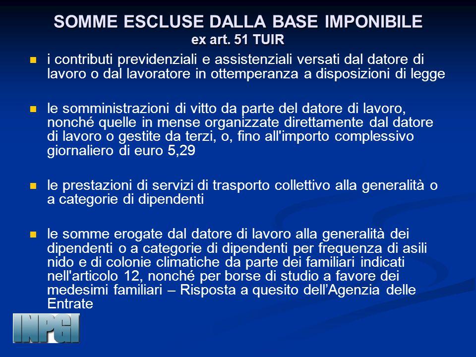 SOMME ESCLUSE DALLA BASE IMPONIBILE ex art. 51 TUIR