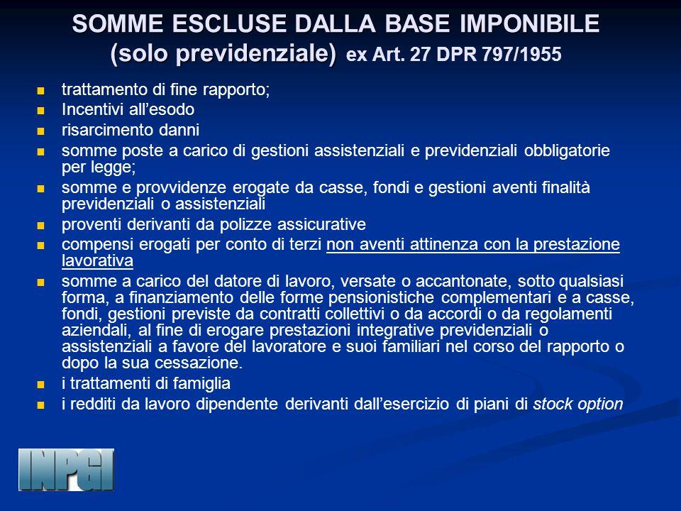 SOMME ESCLUSE DALLA BASE IMPONIBILE (solo previdenziale) ex Art