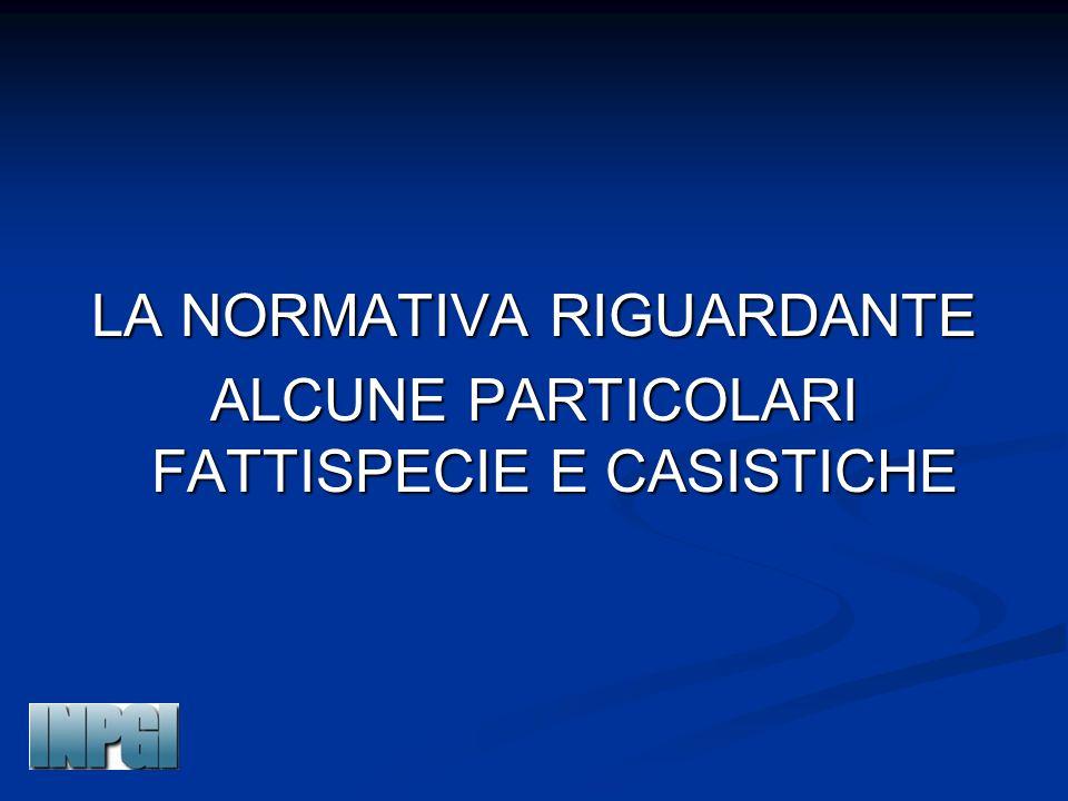 LA NORMATIVA RIGUARDANTE ALCUNE PARTICOLARI FATTISPECIE E CASISTICHE