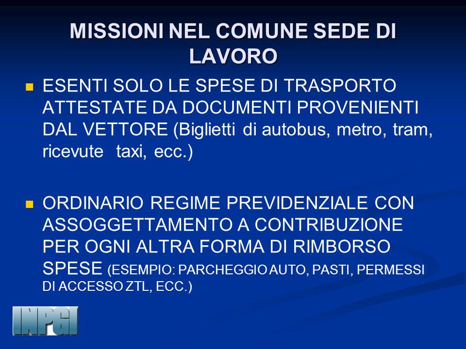 MISSIONI NEL COMUNE SEDE DI LAVORO