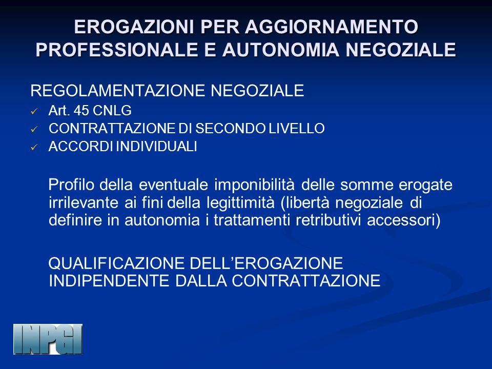 EROGAZIONI PER AGGIORNAMENTO PROFESSIONALE E AUTONOMIA NEGOZIALE