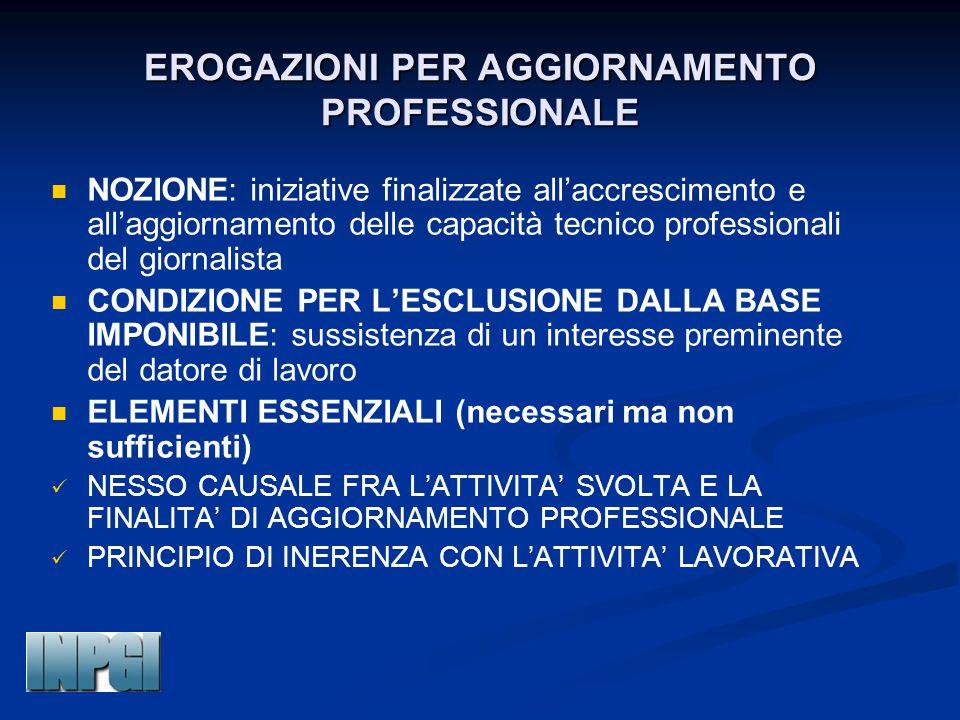 EROGAZIONI PER AGGIORNAMENTO PROFESSIONALE