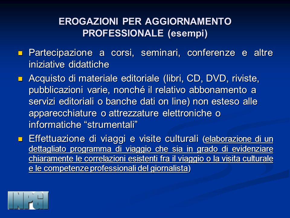 EROGAZIONI PER AGGIORNAMENTO PROFESSIONALE (esempi)