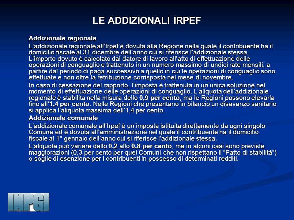 LE ADDIZIONALI IRPEF Addizionale regionale