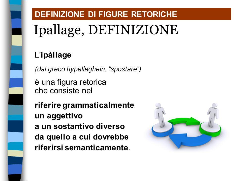 Ipallage, DEFINIZIONE DEFINIZIONE DI FIGURE RETORICHE L ipàllage