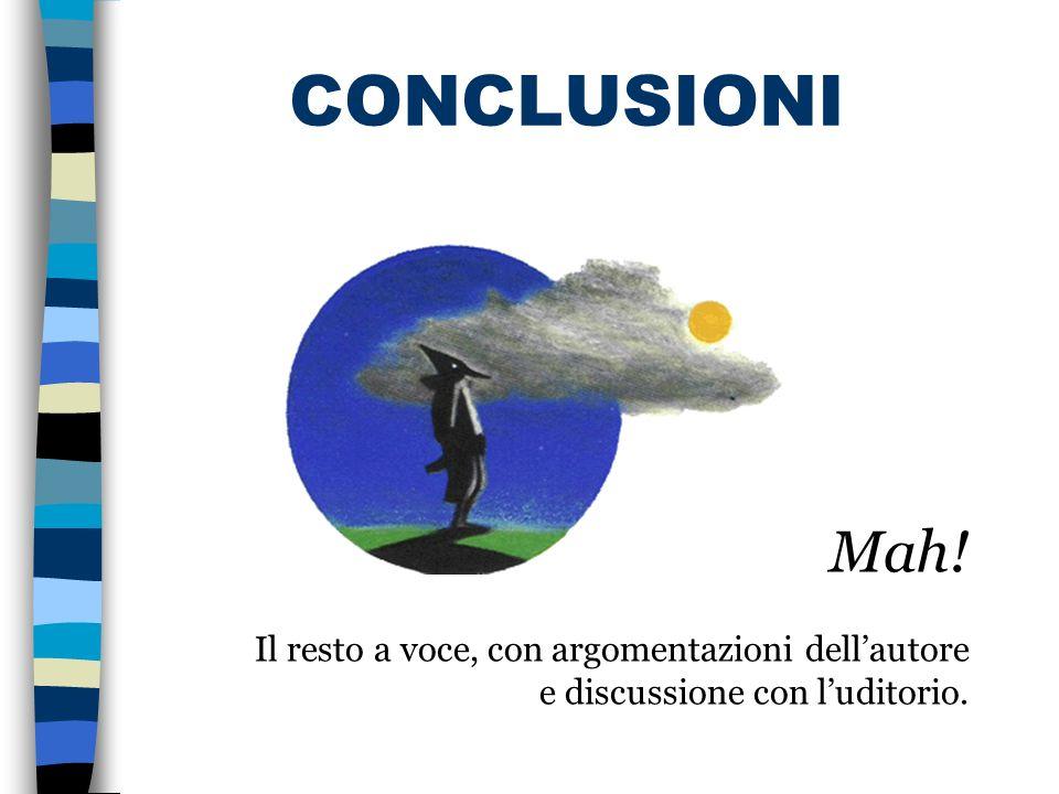 CONCLUSIONI … Mah! Il resto a voce, con argomentazioni dell'autore e discussione con l'uditorio.