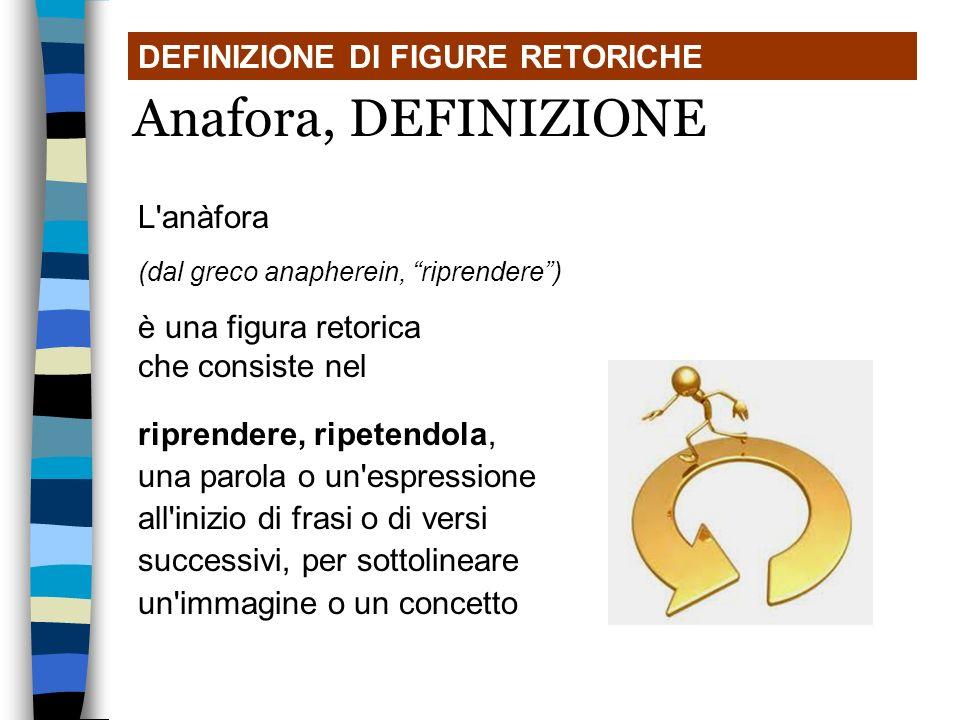 Anafora, DEFINIZIONE DEFINIZIONE DI FIGURE RETORICHE L anàfora
