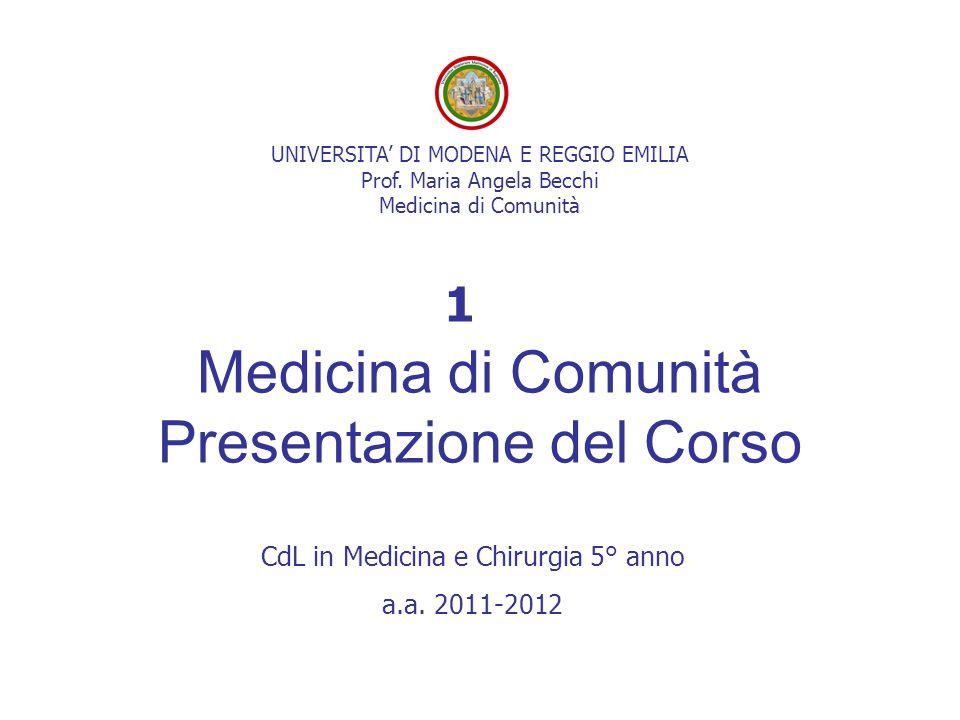 Medicina di Comunità Presentazione del Corso