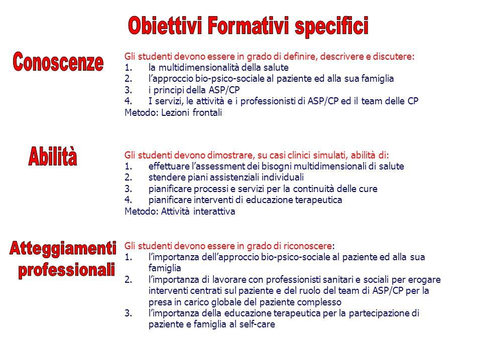 Obiettivi Formativi specifici