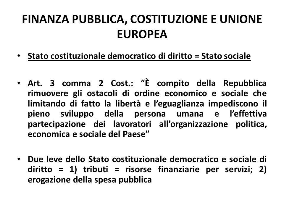 FINANZA PUBBLICA, COSTITUZIONE E UNIONE EUROPEA