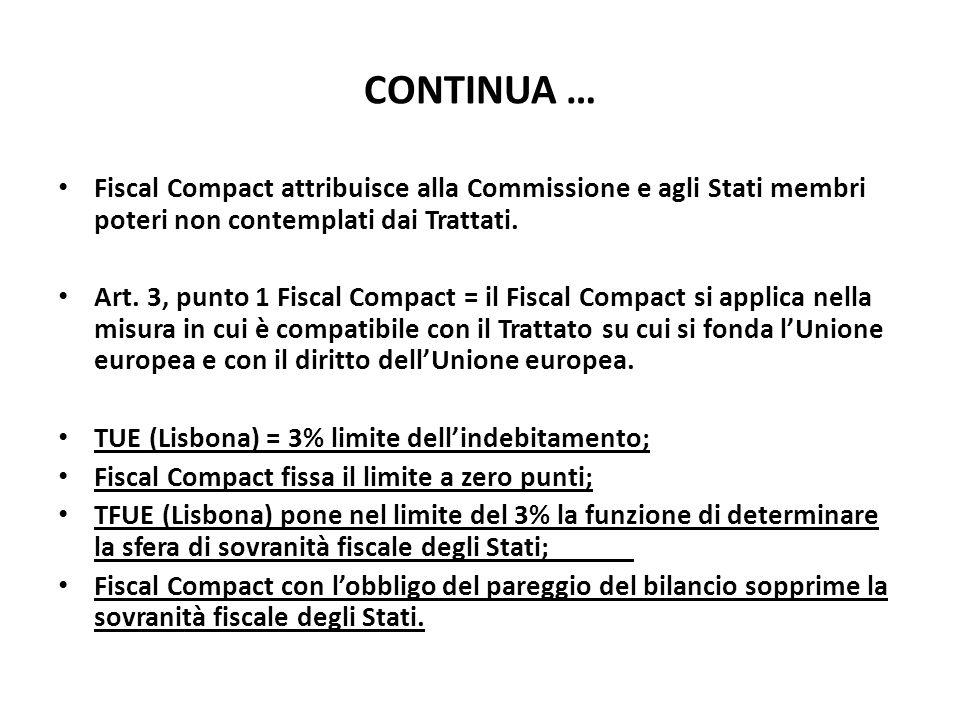 CONTINUA … Fiscal Compact attribuisce alla Commissione e agli Stati membri poteri non contemplati dai Trattati.