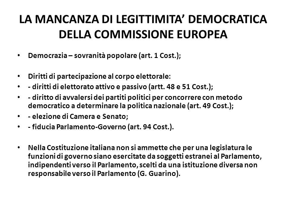 LA MANCANZA DI LEGITTIMITA' DEMOCRATICA DELLA COMMISSIONE EUROPEA