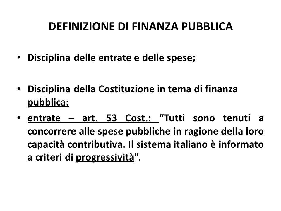 DEFINIZIONE DI FINANZA PUBBLICA