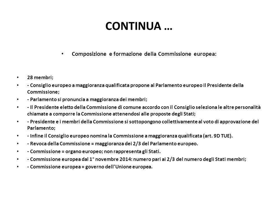 Composizione e formazione della Commissione europea: