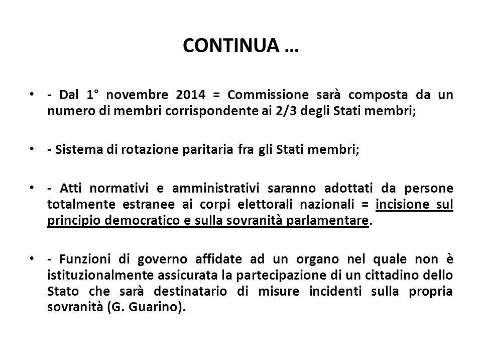 CONTINUA … - Dal 1° novembre 2014 = Commissione sarà composta da un numero di membri corrispondente ai 2/3 degli Stati membri;