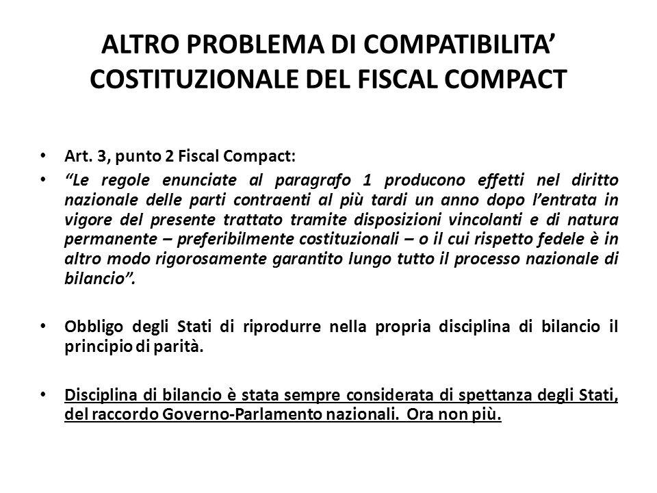 ALTRO PROBLEMA DI COMPATIBILITA' COSTITUZIONALE DEL FISCAL COMPACT