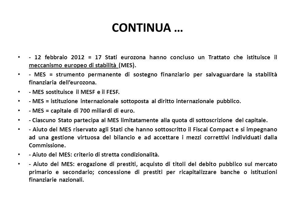 CONTINUA … - 12 febbraio 2012 = 17 Stati eurozona hanno concluso un Trattato che istituisce il meccanismo europeo di stabilità (MES).