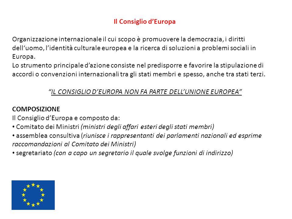 IL CONSIGLIO D'EUROPA NON FA PARTE DELL'UNIONE EUROPEA