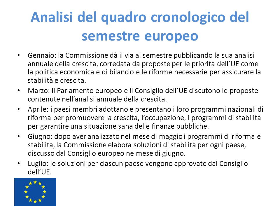 Analisi del quadro cronologico del semestre europeo