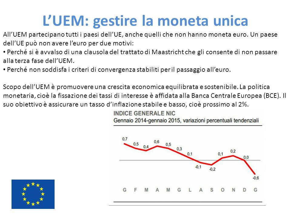 L'UEM: gestire la moneta unica