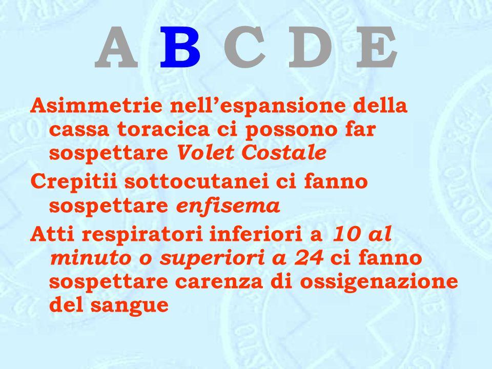 A B C D E Asimmetrie nell'espansione della cassa toracica ci possono far sospettare Volet Costale.