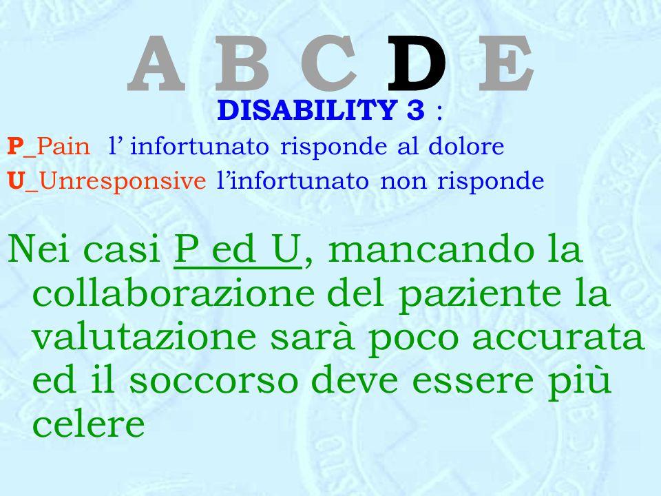 A B C D E DISABILITY 3 : P_Pain l' infortunato risponde al dolore. U_Unresponsive l'infortunato non risponde.