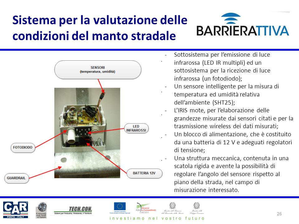 Sistema per la valutazione delle condizioni del manto stradale