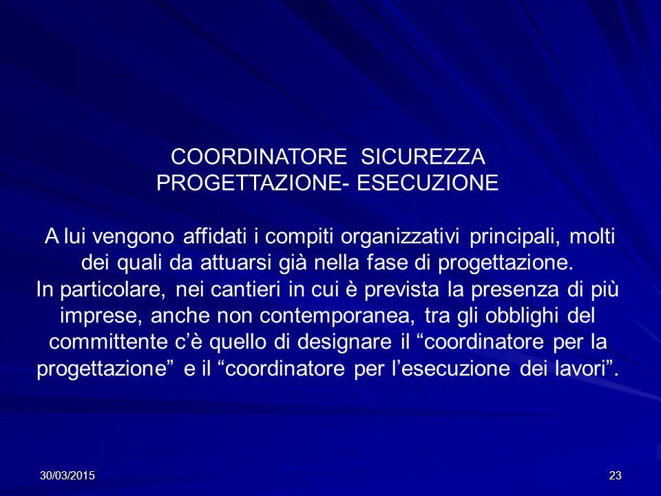 COORDINATORE SICUREZZA PROGETTAZIONE- ESECUZIONE