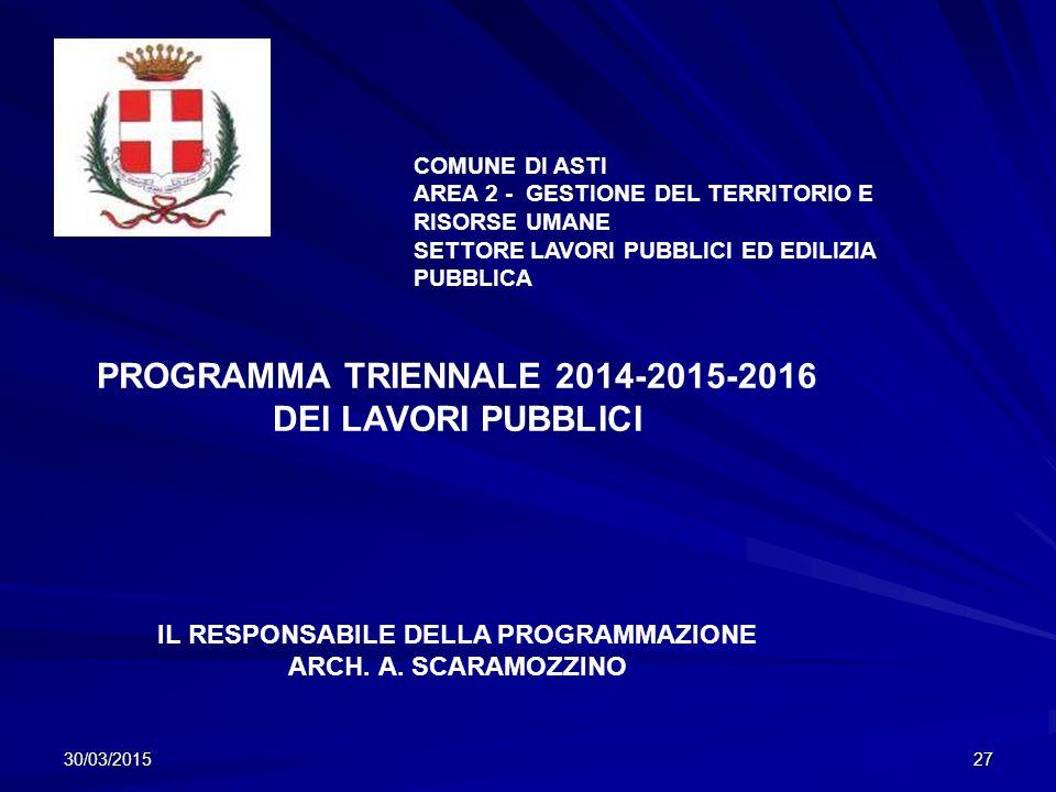 PROGRAMMA TRIENNALE 2014-2015-2016 DEI LAVORI PUBBLICI