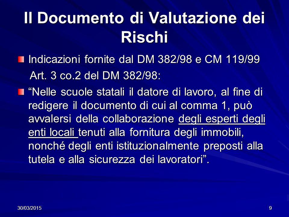 Il Documento di Valutazione dei Rischi